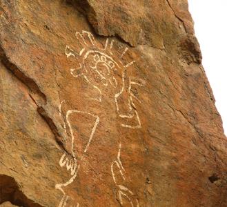 "Petroglyphs ""Tamgaly Tas"" Buddhist drawings. Kazakhstan."