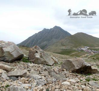 View from the south. The Great Almaty Peak 3681 m. Zailiysky Alatau Kazakhstan.